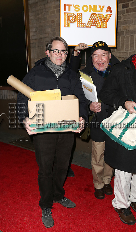 Matthew Broderick and Jack O'Brien with the cast from 'It's Only A Play' head to their new home at the Bernard B. Jacobs Theatre on January 23, 2014 in New York City.