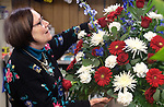 WATERBURY CT. - 17 January 2020-011720SV04-Virginia O'Rourke Cookson works in her flower shop, O'Rourke & Birch Florist Inc., in Waterbury Friday. Cookson will be honored with an award at the Harold Webster Smith awards next week.<br /> Steven Valenti Republican-American