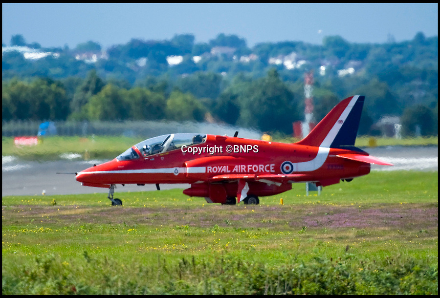 BNPS.co.uk (01202 558833)<br /> Pic: Phil Yeomans/BNPS<br /> <br /> Red Arrows at RAF Scampton.<br /> <br /> Government officials have made an 'embarrassing blunder' by using an image of a Russian fighter jet while trying to promote the RAF's famous Red Arrows.<br /> <br /> The Department for International Trade is currently counting down the days to the Red Arrows forthcoming tour of the US through a series of tweets.<br /> <br /> One of its recent posts contained the message 'The Red Arrows can fly at 48,000 FT. That's higher than Mount Everest' accompanied by the outline of an aircraft.<br /> <br /> But the silhouette used depicted a Russian Sukhoi Su-30/33 fighter jet.