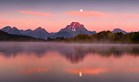 Harvest Moonset. I bolted from camp with bugling elk at on my mind but stopped cold when I saw the moon setting over Mount Moran at Oxbow Bend. Sometimes the best laid plans are meant to be broken. Another September mood in Teton National Park. September 16, 2016.