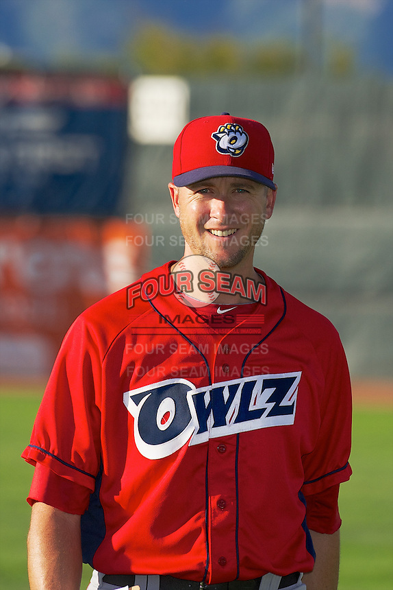 Orem Owlz pitching coach Chris Gissell (22) prior to the game against the Ogden Raptors in Pioneer League play at Lindquist Field on August 28, 2013 in Ogden Utah.  (Stephen Smith/Four Seam Images)