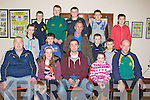 MEDALS: Kilmoyley/Kerry and Irish Hurling player Tom Murnane who presented medals to the under 12s of Kilmoyley hurling team at Kilmoyley Hurling Grounds, Kilmoyley on Friday night, Front l-r: Jim 'Regan (trg), Aoife Godley, Tom Murnane (special guest), Sarah Walsh and Tom Godley (trg). Centre l-r: Triona Curran, Ronan Walsh, Mike Lynch, Darragh and Conor Nolan. Back l-r: Liam Flaherty, David Godley, Kieran Regan, Evan Griffin and Jack Kearney.