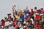 Crowds chanting OLe Ole gather on the first during the final round of Single Matches at The 37th Ryder cup from Valhalla Golf Club in Louisville, Kentucky....Photo: Fran Caffrey/www.golffile.ie.
