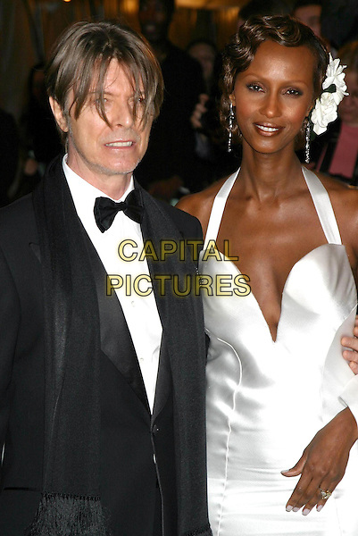 DAVID BOWIE & IMAN.Costume Institute Benefit Dance, NYC Metropolitan Museum.half length, half-length.www.capitalpictures.com.sales@capitalpictures.com.©Capital Pictures.