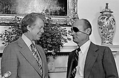 United States President Jimmy Carter, left, meets with Foreign Minister Moshe Dayan of Israel, right, to discuss the Middle East Peace talks in the Oval Office of the White House in Washington, D.C. on October 20, 1978.<br /> Credit: Consolidated News Photos