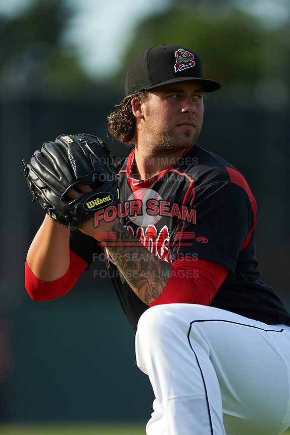 Batavia Muckdogs pitcher Ryan Hafner (25) poses for a photo before a game against the Auburn Doubledays July 10, 2015 at Dwyer Stadium in Batavia, New York.  Auburn defeated Batavia 13-1.  (Mike Janes/Four Seam Images)