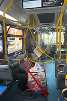 NEW YORK, NY- MAY 14: The MTA installs plastic sheet barriers to further protect bus drivers from exposure to COVID-19 during the coronavirus pandemic in New York City on May 14, 2020. <br /> CAP/MPI/RMP<br /> ©RMP/MPI/Capital Pictures