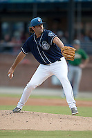 Asheville Tourists starting pitcher Alex Balog #34 delivers a pitch during a game against the Savannah Sand Gnats at McCormick Field July 17, 2014 in Asheville, North Carolina. The Tourists defeated the Sand Gnats 8-7. (Tony Farlow/Four Seam Images)
