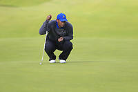 Tiger Woods (USA) on the 12th green during Thursday's Round 1 of the 148th Open Championship, Royal Portrush Golf Club, Portrush, County Antrim, Northern Ireland. 18/07/2019.<br /> Picture Eoin Clarke / Golffile.ie<br /> <br /> All photo usage must carry mandatory copyright credit (© Golffile | Eoin Clarke)