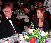 Richard Dreyfuss and his fiance, Janelle Lacey, as their engagement was announced at a gala for Seeds of Peace in honor of Secretary of State Madeleine Albright in New York, New York on April 26, 1998.  Seeds of Peace brings Arab and Israeli teens to a summer camp in the United States where they learn to co-exist peacefully with one another..Credit: Ron Sachs / CNP