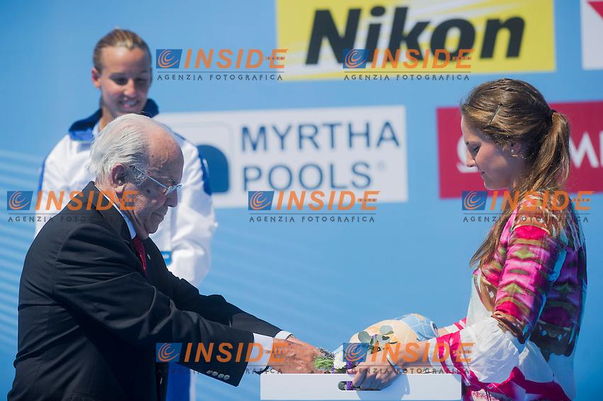 The medal ceremony<br /> Women's 1m springboard final<br /> 15th FINA World Aquatics Championships<br /> Barcelona 19 July - 4 August 2013<br /> Piscina Comunal de Montjuic, Barcelona (Spain) 23/07/2013 <br /> &copy; Giorgio Perottino / Deepbluemedia.eu / Insidefoto