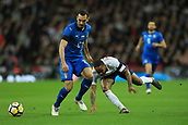 27th March 2018, Wembley Stadium, London, England; International Football Friendly, England versus Italy; Raheem Sterling of England scrambles for the ball against Davide Zappacosta of Italy