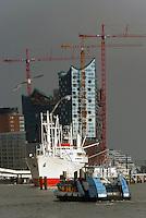 Elbphilharmonie: EUROPA, DEUTSCHLAND, HAMBURG, (EUROPE, GERMANY), 14.03.2013: Elbphilharmonie Hamburg mit Hafenansicht, viel Hafenbetrieb der Hamburger Faehren vor der Hamburger Elbphilharmonie und der Cap San Diego