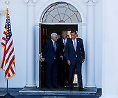 Mitt Romney leaves after meeting with United States President-elect Donald Trump and Vice President-elect Mike Pence at the clubhouse at Trump International Golf Club, November 19, 2016 in Bedminster Township, New Jersey. <br /> Credit: Aude Guerrucci / Pool via CNP