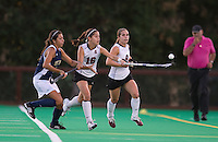 STANFORD, CA - September 3, 2010: Katherine Swank (16) and Xanthe Travlos (9) during a field hockey match against UC Davis in Stanford, California. Stanford won 3-1.