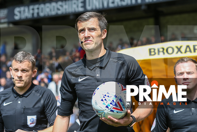 Referee, Mr Craig Hick, officiating during his first ever game as a referee in the English Football League during the Sky Bet League 2 match between Port Vale and Wycombe Wanderers at Vale Park, Burslem, England on 12 August 2017. Photo by David Horn.