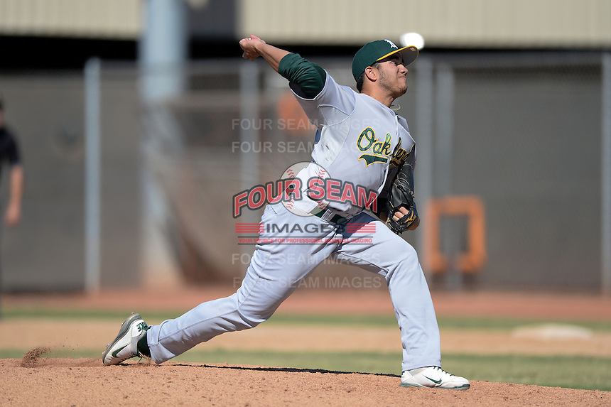 Oakland Athletics pitcher Ronald Herrera (50) during an Instructional League game against the Milwaukee Brewers on October 10, 2013 at Maryvale Baseball Park Training Complex in Phoenix, Arizona.  (Mike Janes/Four Seam Images)