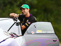 Aug 20, 2016; Brainerd, MN, USA; NHRA pro stock driver Vincent Nobile during qualifying for the Lucas Oil Nationals at Brainerd International Raceway. Mandatory Credit: Mark J. Rebilas-USA TODAY Sports