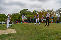 Andrew Landry (USA), Rickie Fowler (USA), and Jimmy Walker (USA) make their way down 2  during day 2 of the Valero Texas Open, at the TPC San Antonio Oaks Course, San Antonio, Texas, USA. 4/5/2019.<br /> Picture: Golffile | Ken Murray<br /> <br /> <br /> All photo usage must carry mandatory copyright credit (&copy; Golffile | Ken Murray)