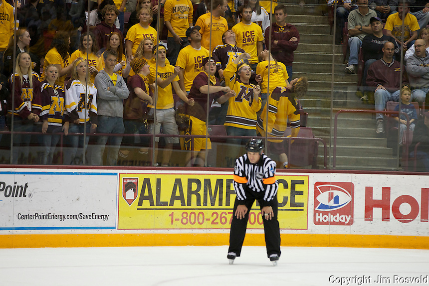 8 Oct 10:  Minnesota Student Fans.  The University of Minnesota plays host to Sacred Heart in a non-conference matchup at Mariucci Arena in Minneapolis, MN.