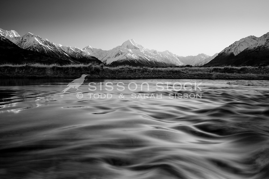 [Mono] Mount Cook / Aoraki seen from the banks of the Tasman River, McKenzie Country