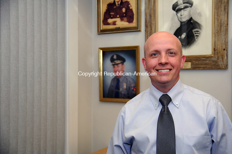 THOMASTON, CT,  MAY 12-050112AJ01- Detective Sgt. James Campbell on May 22 will become acting chief of the Thomsaton Police Department when Chief Eugene F. Torrence Jr. retires.  Alec Johnson / Republican-American