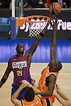 Baloncesto Fuelabrada's Mouhamed Saer Sene (r) and FC Barcelona Regal's Boniface Ndong during Liga Endesa ACB match.October 30,2011. (ALTERPHOTOS/Acero)