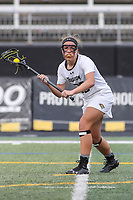 Towson, MD - March 25, 2017: Towson Tigers Tianna Wallpher (20) in action during game between Towson and Oregon at  Minnegan Field at Johnny Unitas Stadium  in Towson, MD. March 25, 2017.  (Photo by Elliott Brown/Media Images International)