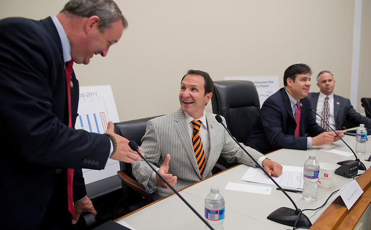 UNITED STATES - MAY 09:  From left, Reps. Jeff Duncan, R-S.C., Jeff Landry, R-La., Raul Labrador, R-Idaho, and Rep. Tim Huelskamp, R-Kan., prepare to conduct a forum in Rayburn called a Conversations with Conservatives to discuss issues including appropriations and the upcoming reconciliation package. (Photo By Tom Williams/CQ Roll Call)