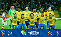 MANIZALES - COLOMBIA, 19-01-2020: Jugadores de Brasil posan para una foto antes de partido entre las selecciones de Brasil y Perú por la fecha 1, grupo B, del CONMEBOL Preolímpico Colombia 2020 jugado en el estadio Centenario de la ciudad de Armenia, Colombia. / Players of Brazil pose for a photo prior a match between the teams Brasil and Peru of the date 1, group B, for the CONMEBOL Pre-Olympic Tournament Colombia 2020 played at Cetennial stadium in Armenia city, Colombia. Photo: VizzorImage / Julián Medina / Cont.