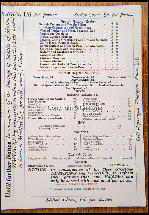 BNPS.co.uk (01202 558833)<br /> Pic: Onslows/BNPS<br /> <br /> This rare 1917 'Bill of Fare' for upmarket restaurant Simpsons in the Strand shows how even the upper classes were starting to feel the pinch after four years of conflict.<br /> <br /> Cash in the Attic! - Iconic £15,000 Kitchener poster rediscovered.<br /> <br /> A super-rare Lord Kitchener recruitment poster has been discovered amongst a timecapsule box of ephemera from the Great War uncovered in a Cumbrian attic.<br /> <br /> Bizarrely, despite its iconic status, only five other original copies of the poster are known to still survive making this find incredibly valuable.<br /> <br /> It was found folded up in a box by an elderly gentleman who was going through his late wife's possessions.<br /> <br /> Also found was a 1917 menu to upmarket restaurant Simpsons in the Strand that reveals the wartime rationing was even starting to affect the upper classes. with 'meat free days' and a shortage of 'saddles of mutton'.<br /> <br /> Patrick Bogue of poster specialists Onslows Auctions said 'It's a real Howard Carter moment, it's incredible how something so familiar is actually so rare'.