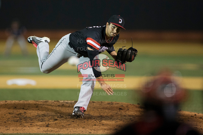 Davidson Wildcats relief pitcher Peyton Hopkins (14) in action against the Wake Forest Demon Deacons at David F. Couch Ballpark on February 28, 2017 in Winston-Salem, North Carolina.  The Demon Deacons defeated the Wildcats 13-5.  (Brian Westerholt/Four Seam Images)
