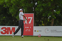 Won-Jun LEE (KOR) watches his tee shot on 17 during Rd 3 of the Asia-Pacific Amateur Championship, Sentosa Golf Club, Singapore. 10/6/2018.<br /> Picture: Golffile | Ken Murray<br /> <br /> <br /> All photo usage must carry mandatory copyright credit (© Golffile | Ken Murray)