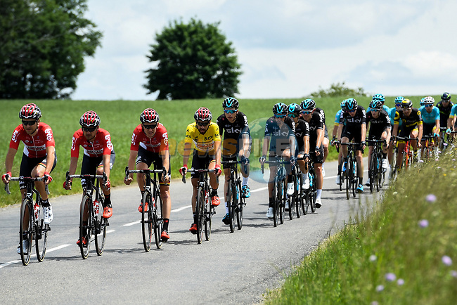Lotto-Soudal with race leader yellow jersey Thomas De Gendt (BEL) lead the peloton during Stage 2 of the Criterium du Dauphine 2017, running 171km from Saint-Chamond to Arlanc, France. 5th June 2017. <br /> Picture: ASO/A.Broadway | Cyclefile<br /> <br /> <br /> All photos usage must carry mandatory copyright credit (&copy; Cyclefile | ASO/A.Broadway)