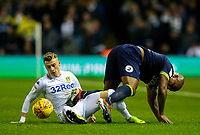 Leeds United's Ezgjan&nbsp;Alioski vies for possession with Derby County's Andre Wisdom<br /> <br /> Photographer Alex Dodd/CameraSport<br /> <br /> The EFL Sky Bet Championship -  Leeds United v Derby County - Friday 11th January 2019 - Elland Road - Leeds<br /> <br /> World Copyright &copy; 2019 CameraSport. All rights reserved. 43 Linden Ave. Countesthorpe. Leicester. England. LE8 5PG - Tel: +44 (0) 116 277 4147 - admin@camerasport.com - www.camerasport.com