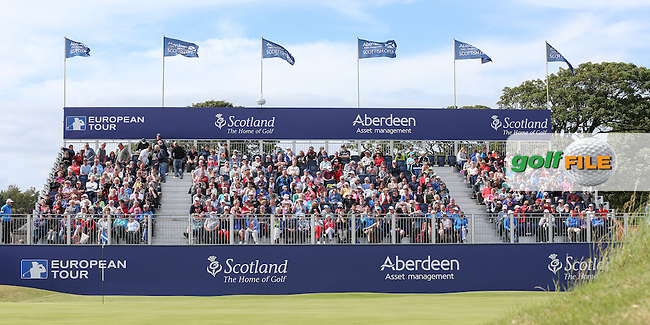 Grandstand on the last during the First Round of the 2015 Aberdeen Asset Management Scottish Open, played at Gullane Golf Club, Gullane, East Lothian, Scotland. /09/07/2015/. Picture: Golffile | David Lloyd<br /> <br /> All photos usage must carry mandatory copyright credit (&copy; Golffile | David Lloyd)