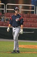 August 21, 2005:  John Drennen of the Burlington Indians during a game at Hunter Wright Stadium in Kingsport, TN.  Burlington is the Appalachian League Rookie affiliate of the Cleveland Indians.  Photo by:  Mike Janes/Four Seam Images