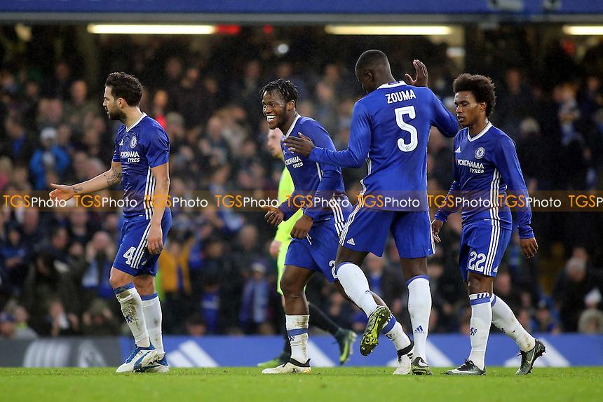Michy Batshuayi celebrates scoring Chelsea's second goal with Kurt Zouma during Chelsea vs Peterborough United, Emirates FA Cup Football at Stamford Bridge on 8th January 2017