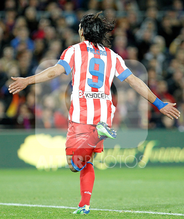 Atletico de Madrid's Radamel Falcao celebrates goal during La Liga match.December 16,2012. (ALTERPHOTOS/Acero)