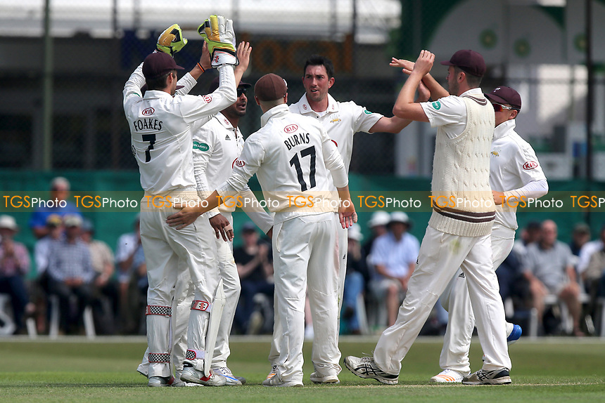 Mark Footitt of Surrey is congratulated by his team mates after taking the wicket of Tom Westley during Surrey CCC vs Essex CCC, Specsavers County Championship Division 1 Cricket at Guildford CC, The Sports Ground on 10th June 2017