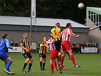 Barry Somers (5) makes the defensive header in the Huntly v Wigtown & Bladnoch William Hill Scottish Cup 1st Round match, at Christie Park, Huntly on 25.8.12.