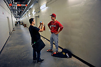 Starting pitcher Nick Fanti (20) of the Lakewood BlueClaws is interviewed in the hallway after his combined no-hitter against the Columbia Fireflies on Saturday, May 6, 2017, at Spirit Communications Park in Columbia, South Carolina. Fanti pitched a scoreless 8 and two-thirds innings, with Trevor Bettencourt picking up the final out for a 1-0 win. (Tom Priddy/Four Seam Images)