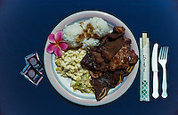 Plate lunch with Teri beef, two scoop rice and macaroni salad