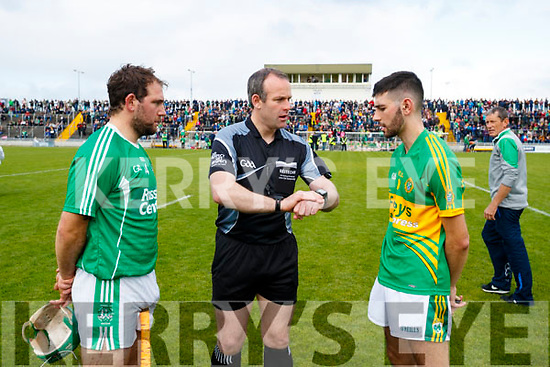 Referee Johnny Murphy with captains Mikey Boyle (Captain) Ballyduff and John Buckley (C) Lixnaw in the Senior County Hurling Final in Austin Stack Park on Sunday
