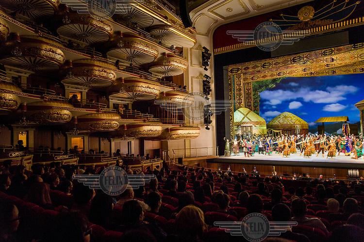 The Kazakh opera Birzhan-Sara is performed during Nauryz, the traditional new year holiday, in the Astana Opera.