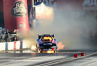 Sept 8, 2012; Clermont, IN, USA: NHRA funny car driver Blake Alexander has a fire during qualifying for the US Nationals at Lucas Oil Raceway. Mandatory Credit: Mark J. Rebilas-
