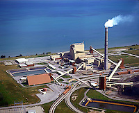 The Sommerset, NY coal burning electric power plant on the shore of Lake Ontario. 08-6500, energy, electricity, power. Sommerset New York United States.