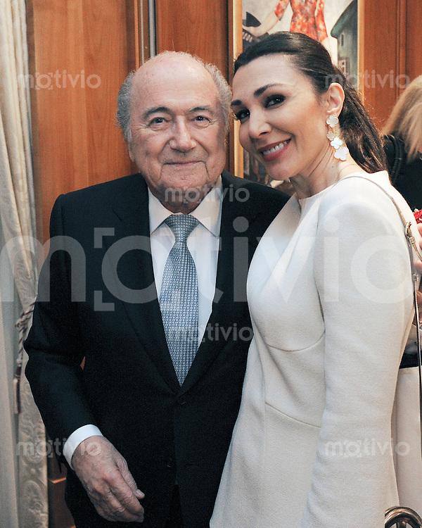 Zuerich, 10.03.2016 Ex-FIFA-Praesident Joseph Sepp Blatter (li) feiert seinen 80. Geburtstag mit Freundin Linda Barras