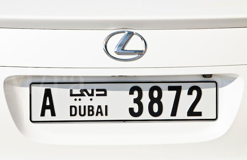 Licence plate on Lexus in Dubai in UAE United Arab Emirates