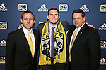 January 17th, 2013: #9 draft pick Ryan Finley, selected by the Columbus Crew, with head coach Robert Warzycha (POL) (left) and Team President Mark McCullers (right). The 2013 MLS SuperDraft was held during the NSCAA Annual Convention held in Indianapolis, Indiana.